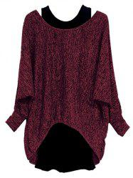 Plus Size Batwing Sleeve Space Dye Tee and Tank Top Set -
