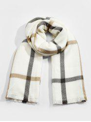 Checkered Pattern Faux Cashmere Long Scarf -