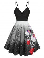 Halloween Spider Web Skull Print Ruched Dress -