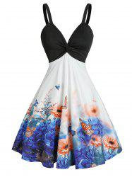 Front Twist Floral Butterfly Print Dress -