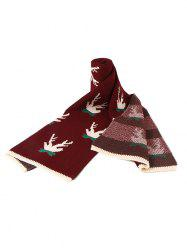 Christmas Pattern Colorblock Knitted Long Scarf -