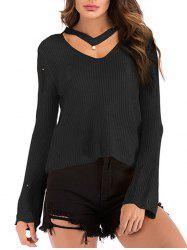 Beading Choker Ripped Flare Sleeve Sweater -