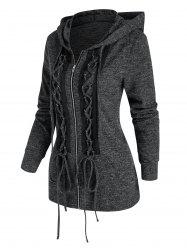 Lace Up Heathered Punk Jacket -