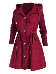 Plus Size Hooded Drawstring Pocket Tunic Coat -
