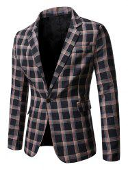 Windowpane Check Print Single Button Blazer -
