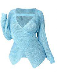 Plus Size Plunge Crossover Sweater -