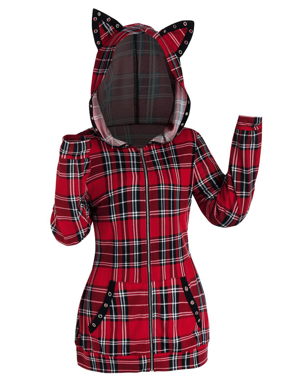 Chic Plaid Print Zip Up Cat Ear Hooded Jacket