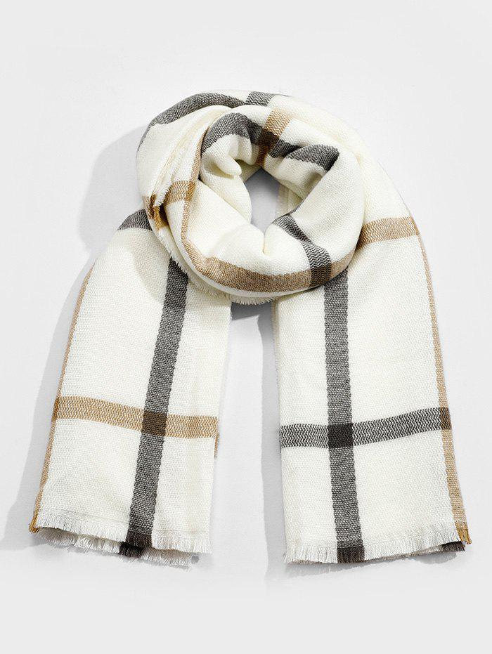New Checkered Pattern Faux Cashmere Long Scarf