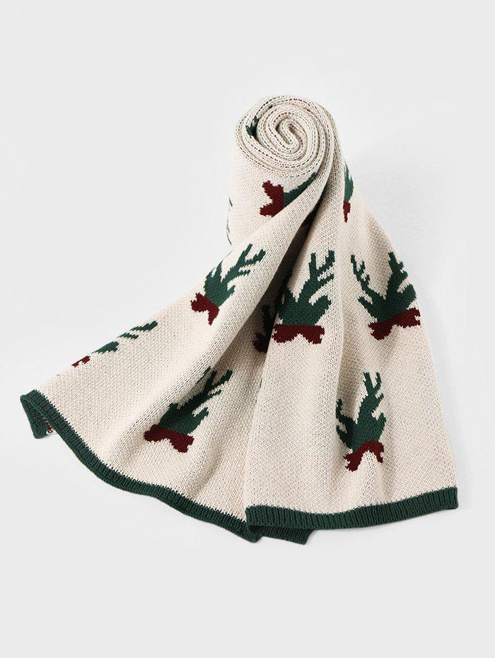 Shops Christmas Pattern Colorblock Knitted Long Scarf