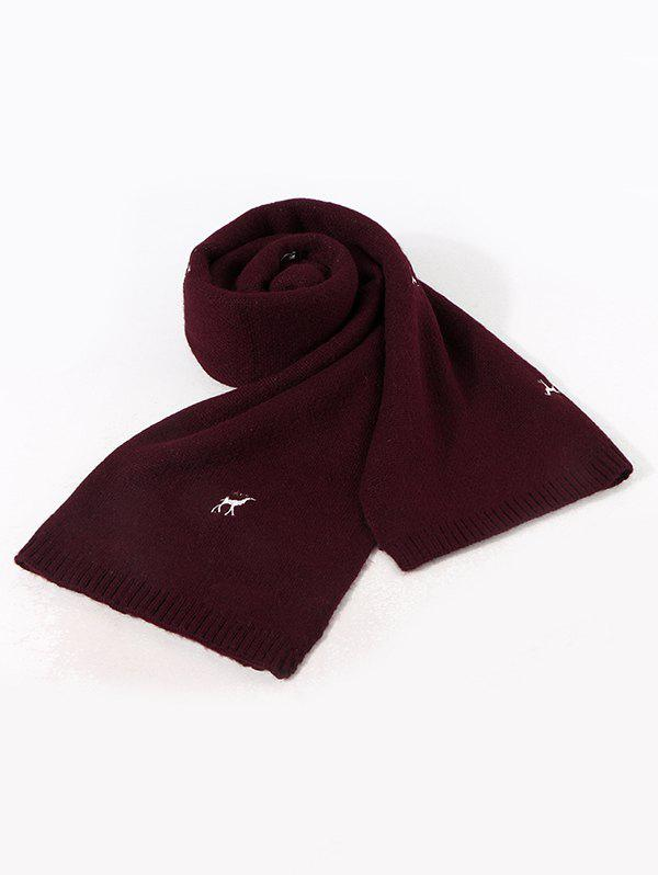 Discount Embroidery Elk Pattern Knitted Long Scarf