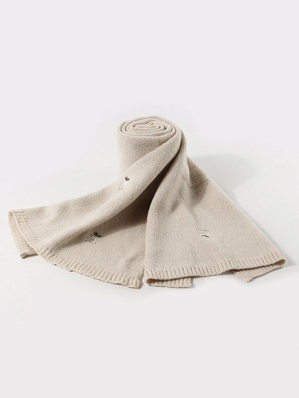 Shop Embroidery Elk Pattern Knitted Long Scarf