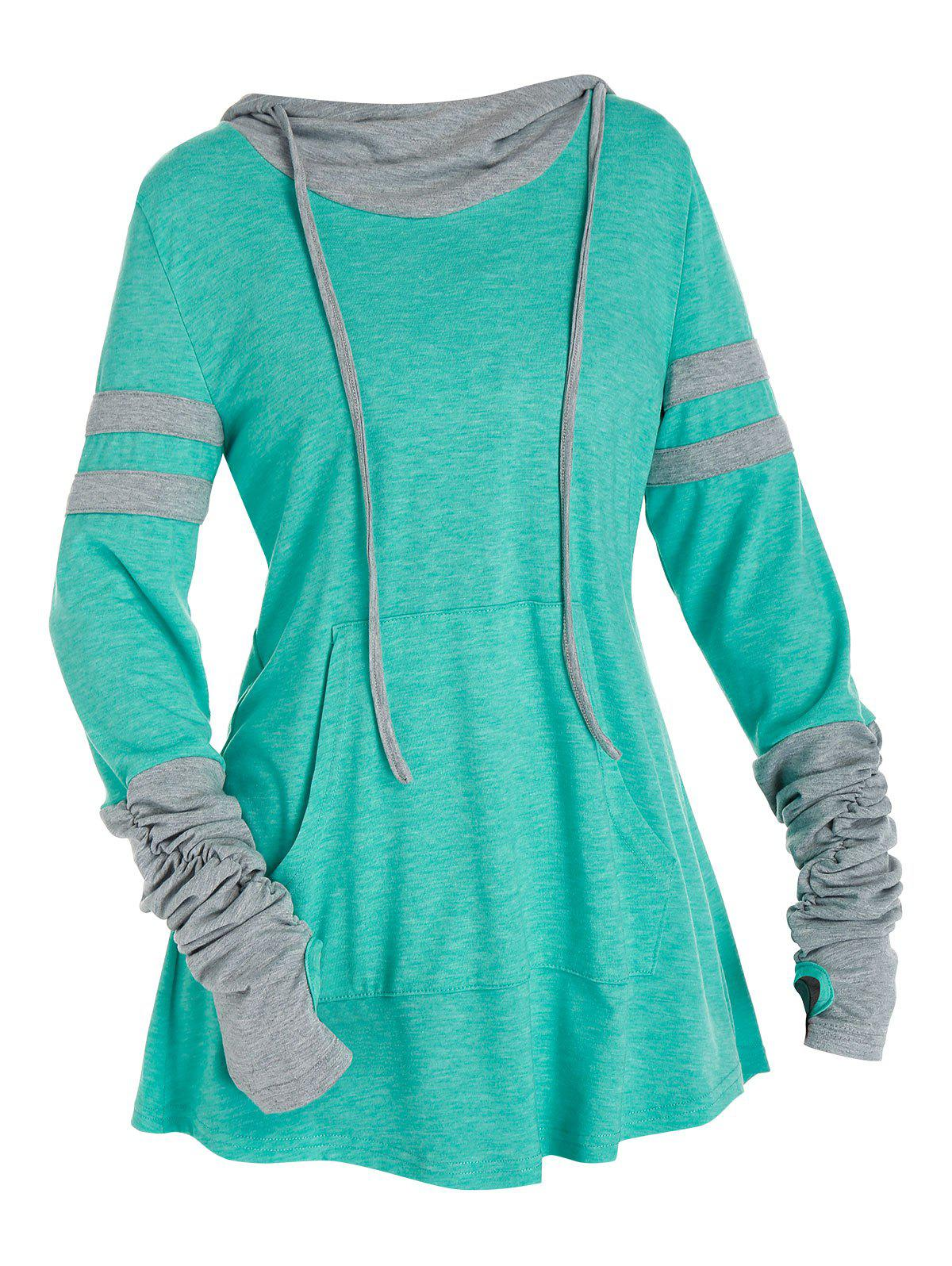 Outfits Hooded Ruched Sleeve Kangaroo Pocket Contrast Heathered T-shirt