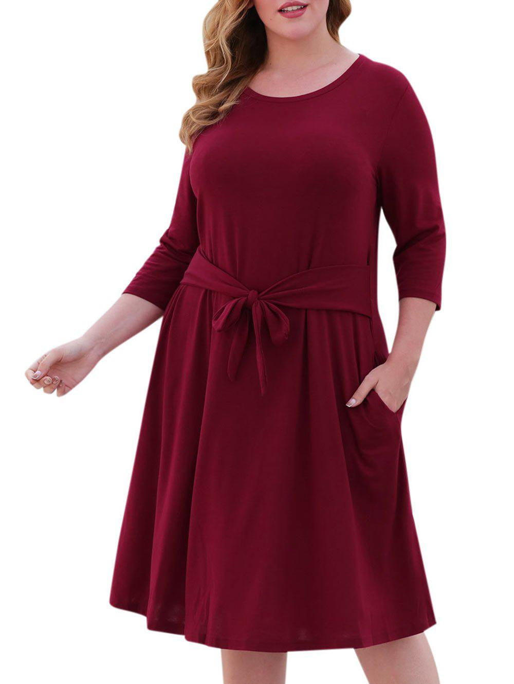 Fancy Seam Pockets Tie Waist Plus Size Casual Dress
