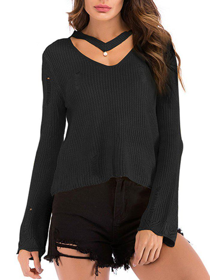 Buy Beading Choker Ripped Flare Sleeve Sweater