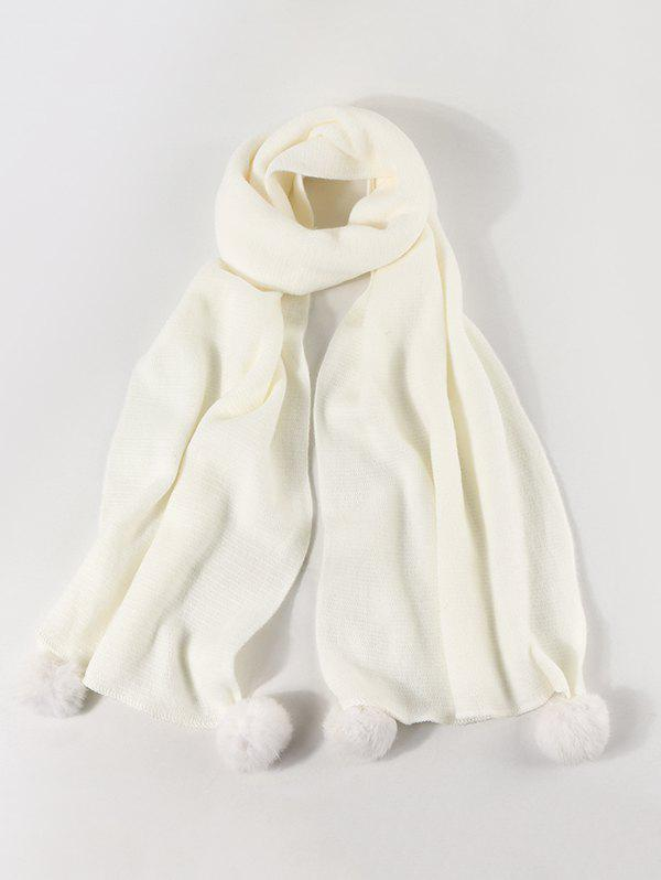 Fancy Faux Cashmere Knitted Pom Pom Scarf