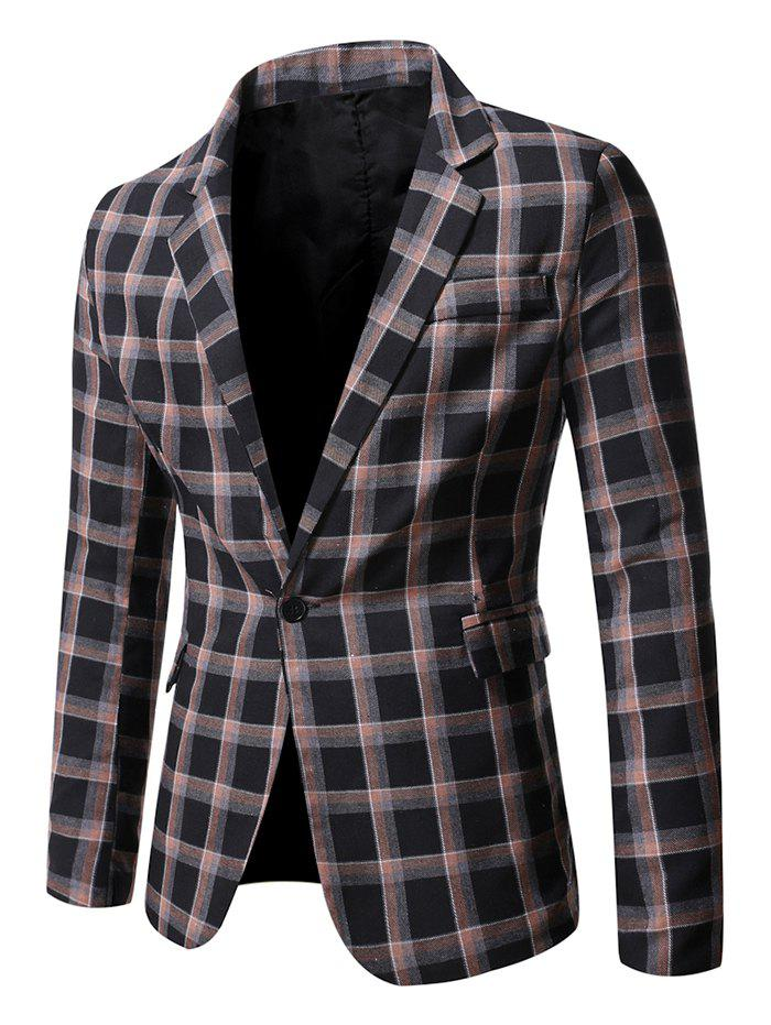 Outfit Windowpane Check Print Single Button Blazer