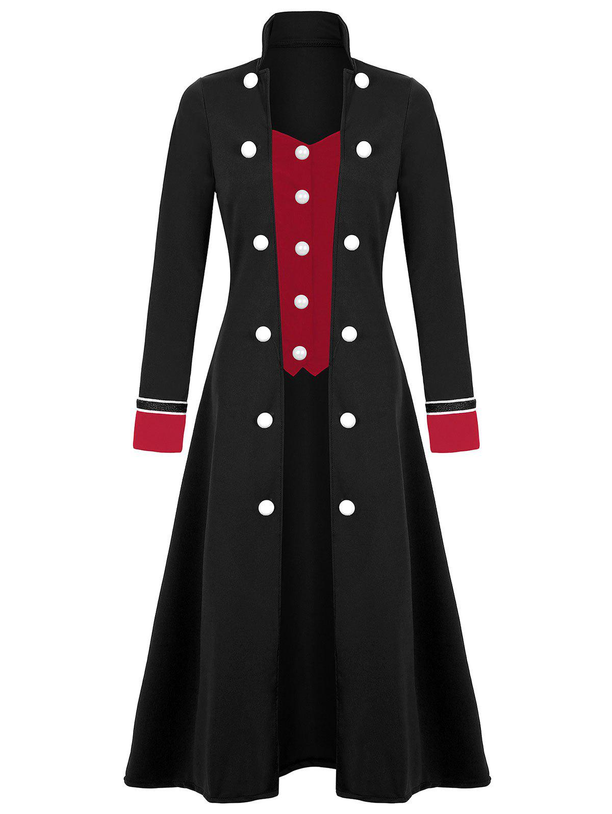 Chic Plus Size Long Double Breasted Coat