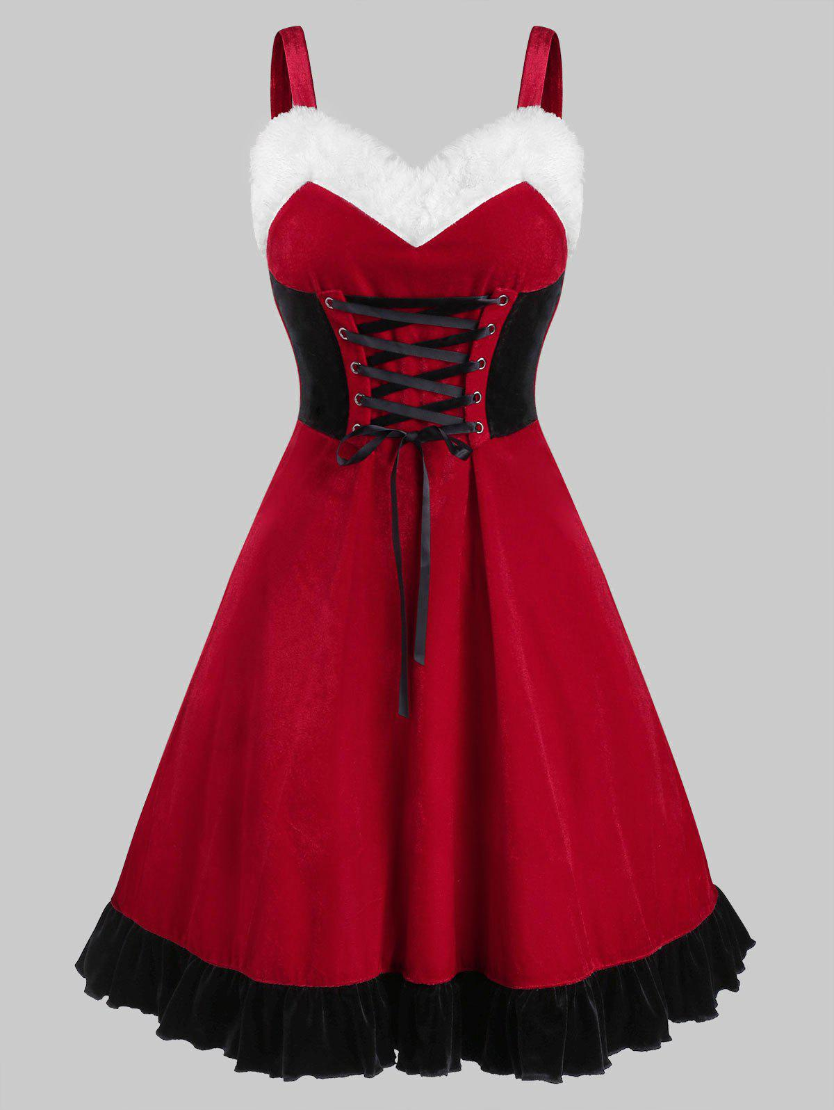 Outfit Christmas Velvet Lace Up Dress