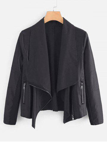 Plus Size Draped Knit Panel Faux Leather Biker Jacket