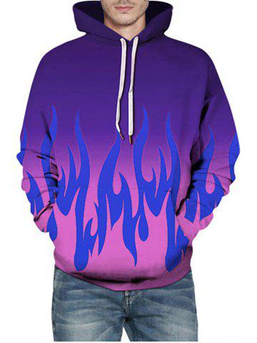 Fire Flame Print Ombre Hoodie - PURPLE - L