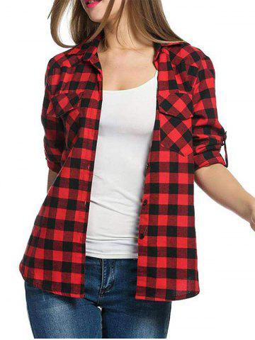 Pocket Gingham Roll Tab Sleeve Shirt - RED - XL