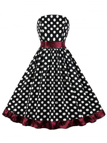 Polka Dot Belted Strapless Party Dress