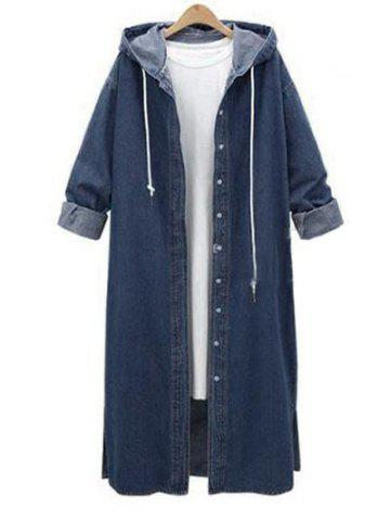 Plus Size Hooded Denim Long Jacket - BLUE - XL