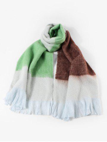 Faux Cashmere Colorblock Fringe Long Scarf