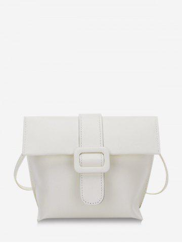 Solid Buckle Cover Square Crossbody Bag - WHITE