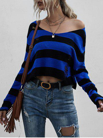 Striped Ripped Drop Shoulder Sweater