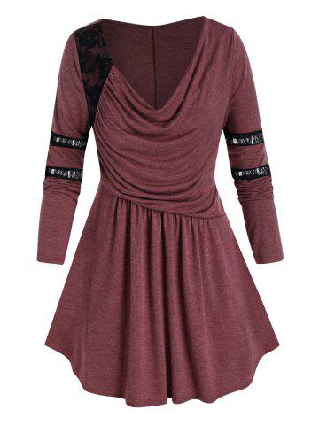 Plus Size Ruched Draped Cowl Front Lace Panel Tunic Tee - DEEP RED - 4X