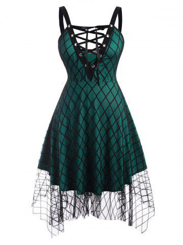 Plaid Lace Up Mesh Plus Size Dress