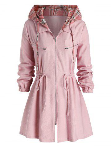 Plus Size Hooded Checked Drawstring A Line Tunic Coat - PINK - L