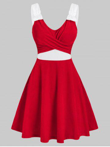 Christmas Contrast Velour Crossover Dress - RED - 2XL