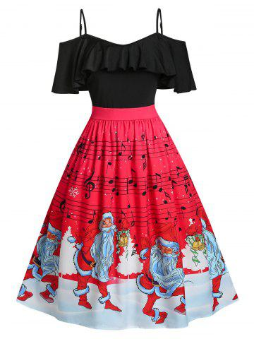 Plus Size Christmas Claus Musical Notes Cold Shoulder Dress - RED - 5X