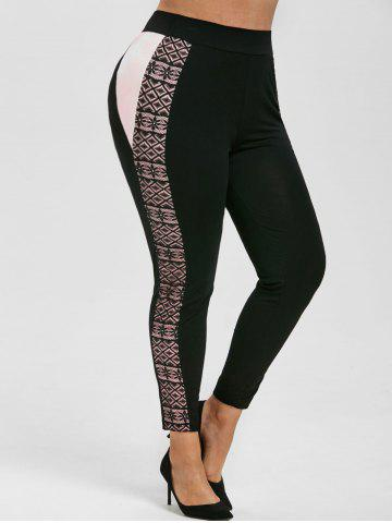 Contrast Side High Waisted Lace Panel Plus Size Leggings - BLACK - 5X