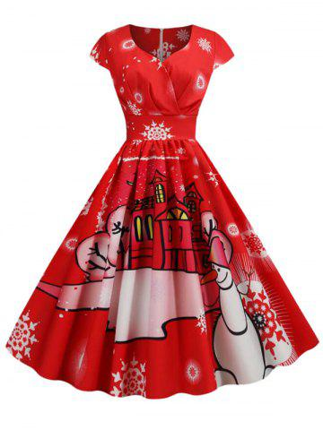 Plus Size Vintage Christmas Printed Pin Up Dress - RED - L