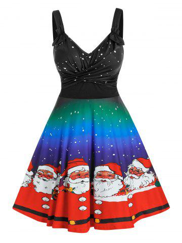 Plus Size Christmas Ombre Claus Twisted Ruched A Line Dress