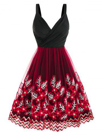 Leaves Embroidered Mesh Insert Sequin Dress
