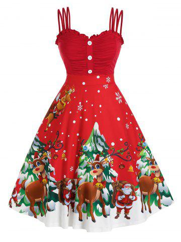 Plus Size Christmas Funny Elk Claus Triple Strap Ruched Dress - CHERRY RED - L