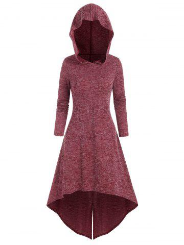 Hooded High Low Midi Knitted Dress