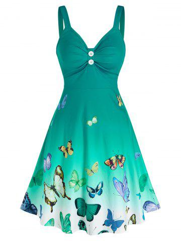 Ombre Color Butterfly Print Ruched Dress - LIGHT GREEN - M