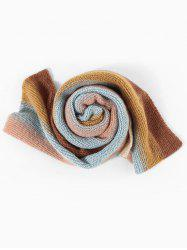 Colorblock Striped Knitted Long Scarf -