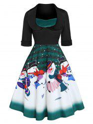 Christmas Snowman Musical Notes Print Flare Dress -