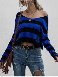 Striped Ripped Drop Shoulder Sweater -