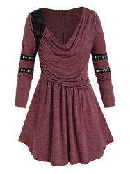 Plus Size Ruched Draped Cowl Front Lace Panel Tunic Tee -