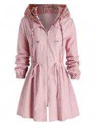 Plus Size Hooded Checked Drawstring A Line Tunic Coat -