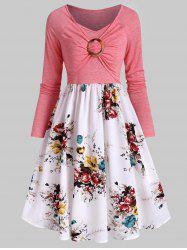 Ruched O Ring Floral Print Dress -