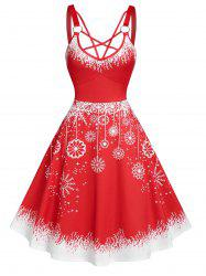 Strappy Christmas Snowflake Print Dress -