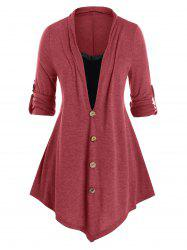Plus Size Lace Panel Button Tab Sleeve Tunic Tee -